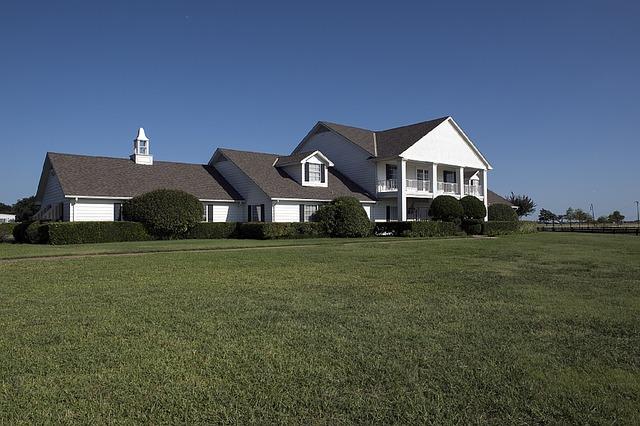 velký bílý dům, pole, keře
