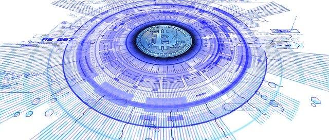 bitcoin v modrém