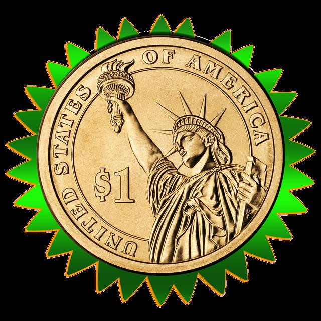 dolar v zeleném ozubeném kolečku